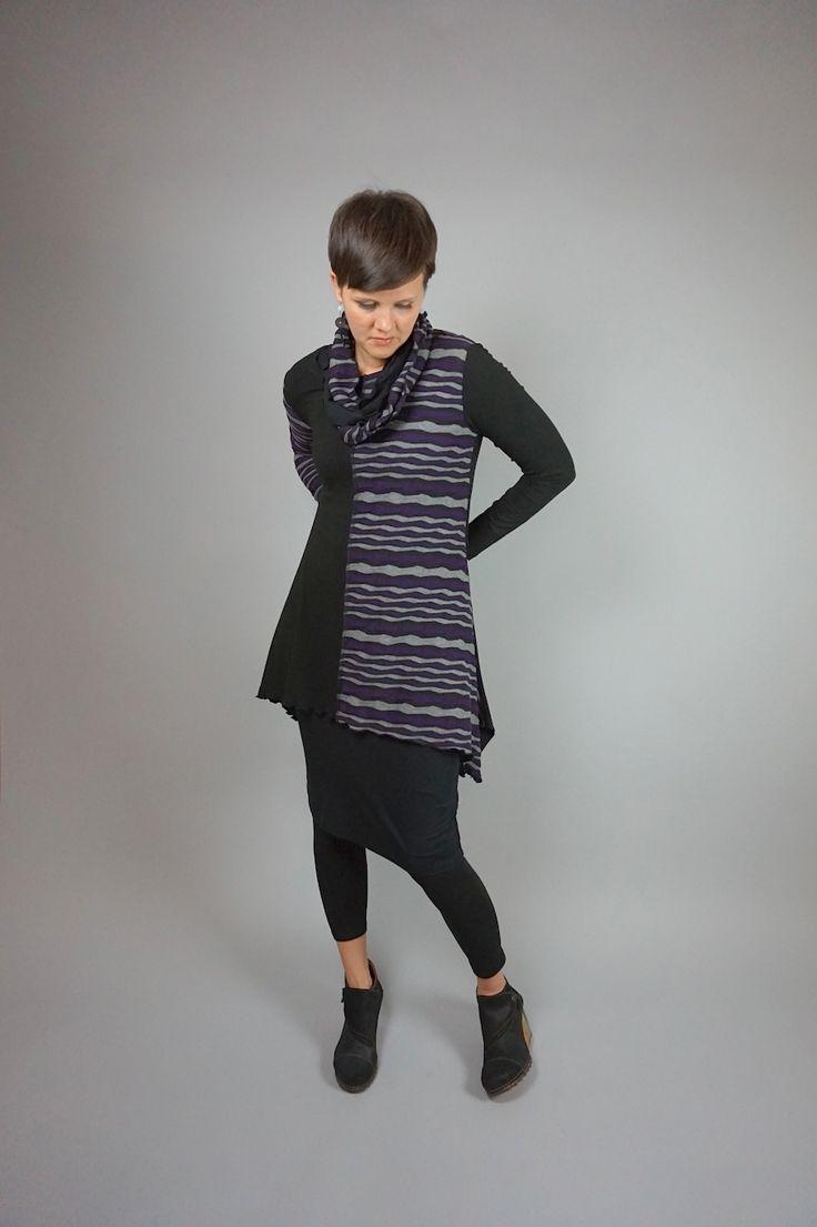 Patch tunic by Lousje & Bean http://www.lousjeandbean.ca/shop/patch-tunic-purple/ #tunic #lousjeandbean #womensfashion #europeanclothing #purple #stripe #canadianmade