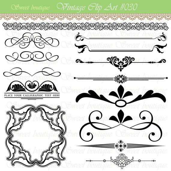 Vintage Calligraphy Clip Art Clipart DIY Wedding Invitation Designs Scrapbook Embellishment Text
