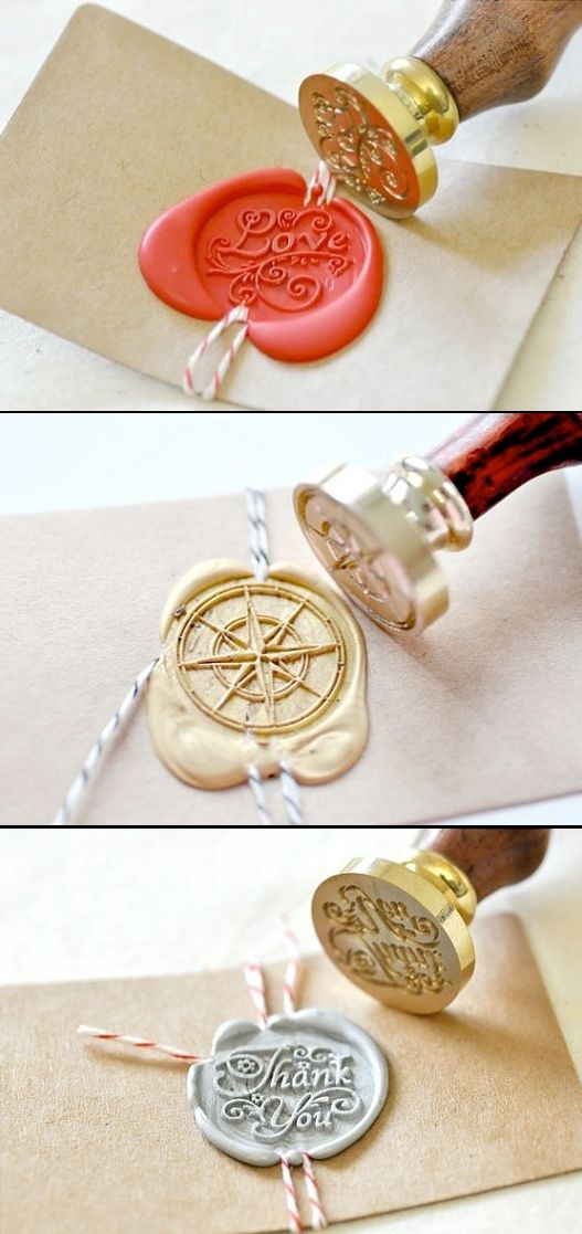The typical regal wax stamp gets a playful makeover with a colored wax. Try it on thank you notes, cards, or favors.
