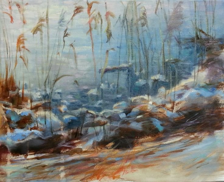 """Frosty Morning"" impressionist landscape oil painting by Heidi Hjort, Finland 2015"
