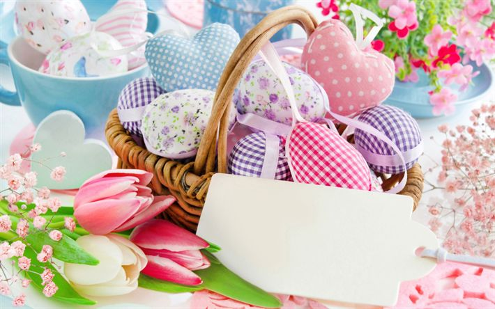 Download wallpapers Happy Easter, 2018, basket with Easter eggs, spring, decoration, congratulation, pink tulips