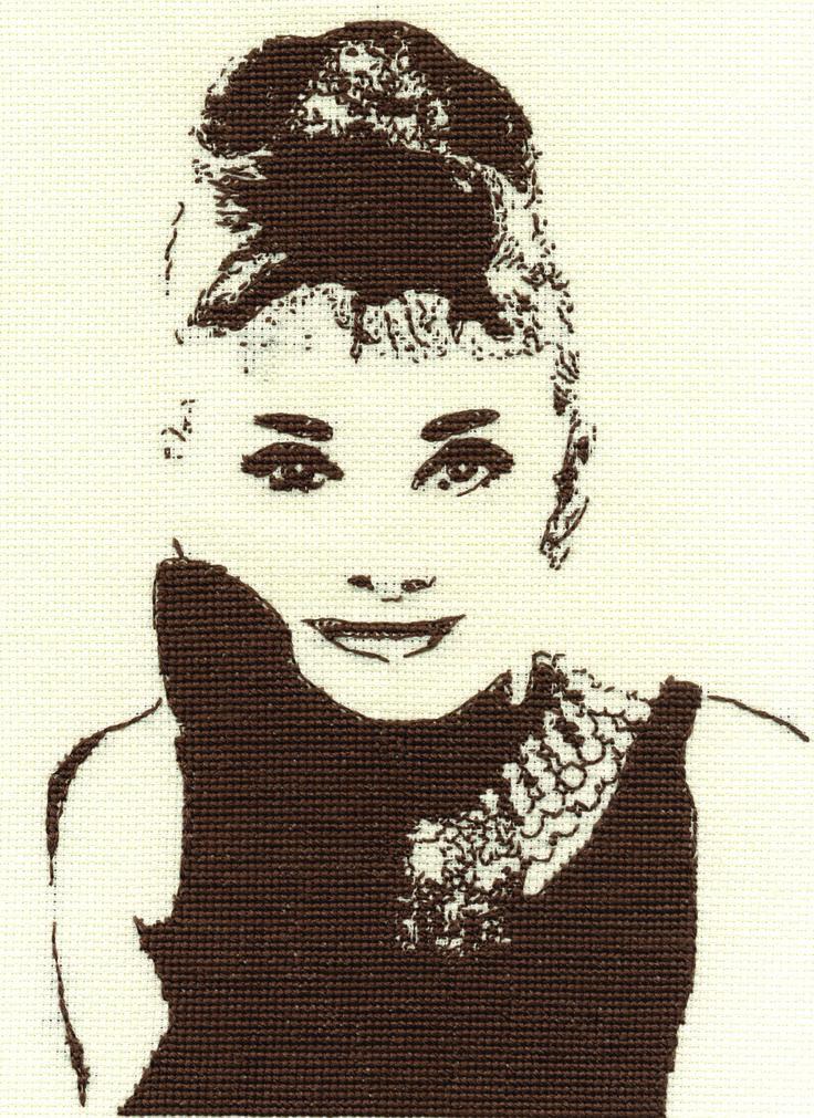 Audrey Hepburn cross-stitch from DMC