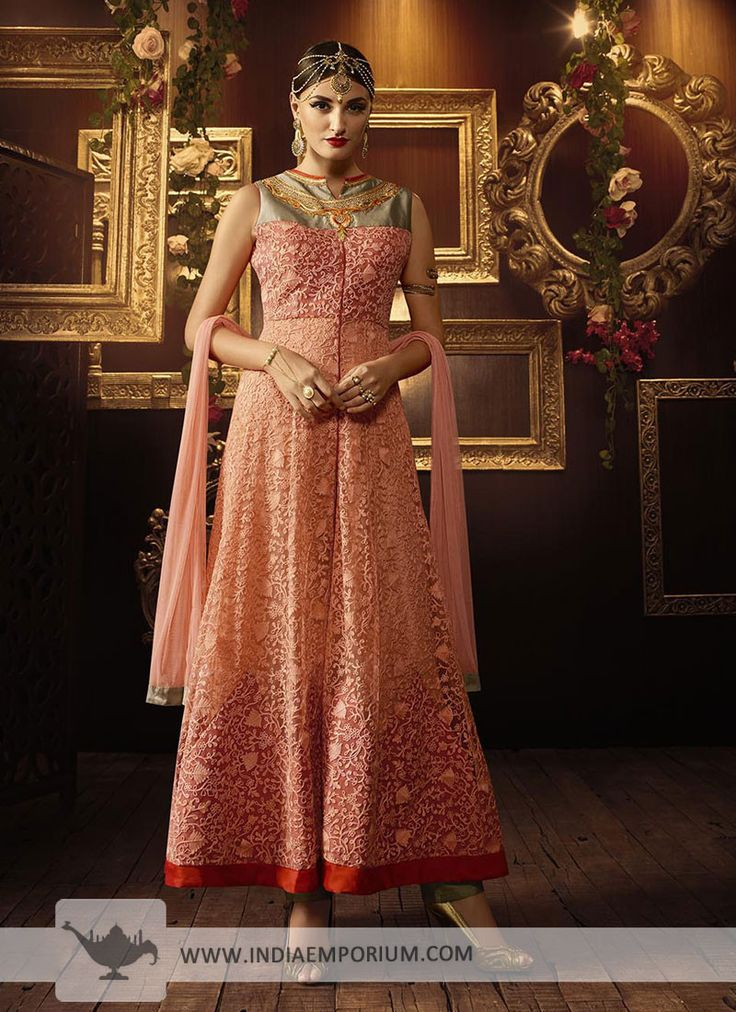 Beautiful Peach Heavy Net Embroidered Achkan Style Suit with Sleeve Attached