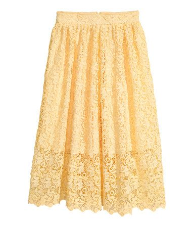 Yellow. Flared, calf-length skirt in lace with a concealed side zip. Lined.