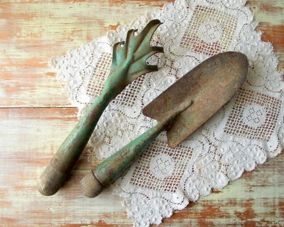 Vintage Garden Tools / Pair of Rustic Garden Hand Tools by gazaboo  30