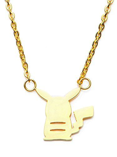 POKEMON WOMEN'S STAINLESS STEEL GOLD PVD PLATED PIKACHU PENDANT WITH CHAIN – POKEMON JEWELRY// buy now $16.95 Everyone's favorite Pokemon character Pikachu! Silhouette necklace gold PVD plated.Officially LicensedPikachu Silhouette Design18″ Chain with 2″ Extender316L Stainless SteelGold PVD PLated