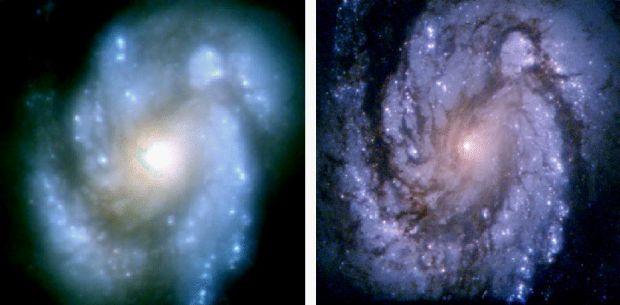 Sådan så galaksen M100 ud i Hubbles optik før (til venstre) og efter (til højre), at Hubble fik 'briller' på. (Foto: NASA) »Da forskerne fik de skarpe billeder, indså man, hvor kraftigt et teleskop det i virkeligheden er, og hvor meget information det giver,« fortæller lektor Frank Grundahl fra Institut for Fysik og Astronomi på Aarhus Universitet. »Hvis du tænker på et fodboldhold, så er Hubble virkelig skarpretteren. Det er Lionel Messi, der står oppe foran og kan de helt fantastiske ting.