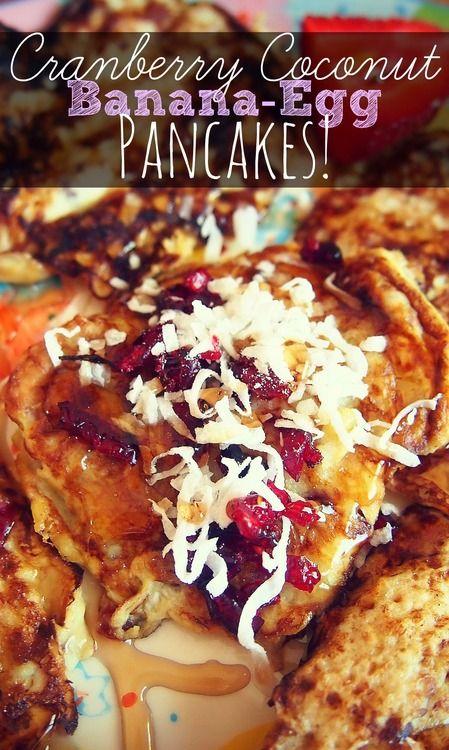 75 Calorie Cranberry Coconut Banana Egg Pancakes!