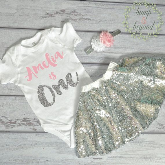 First Birthday Outfit Girl One Year Old Girl Outfit Bodysuit, Headband, Sequin Skirt - Pink and Silver Birthday Shirt Personalized by BumpAndBeyondDesigns