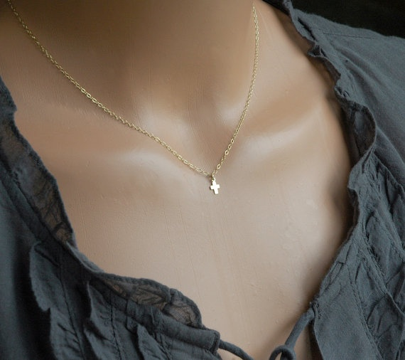 Just ordered!!!: Tiny Little Cross Necklace, 14k Gold Filled, Gold Necklace, Catholic, Dainty, Sweet, Simple, Holy Communion, Modern, Everyday