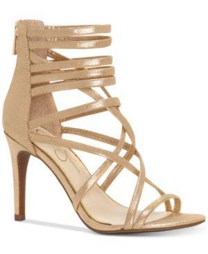Jessica Simpson Harmoni Tubular Strappy Dress Heels - Gold 8.5M