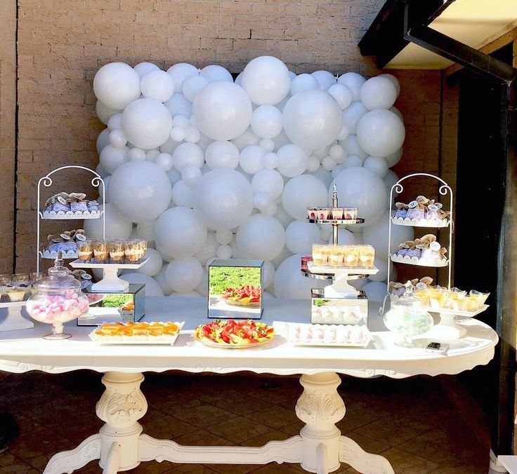 """Did you know...""""Mom"""" is """"Wow"""" upside down! Congratulations to our new 'mom' to be! Wishing you so many 'wow' moments on this new adventure. Loved creating this perfect backdrop for the baby shower. -          #babyshower #mumlife #mumtobe #balloonwall #white #whiteballoons #desserttable #newbaby #welcomebaby #when2becomes3 #congratulations #"""
