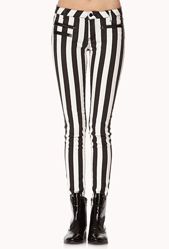 Edgy Striped Skinny Jeans | FOREVER21 - 2072961055