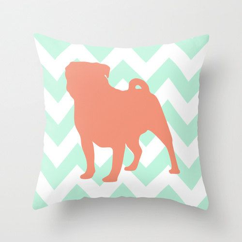 Pug Pillow Cover Chevron Throw Pillow Cover in Mint and Coral by PaperPlanePrints, $35.00