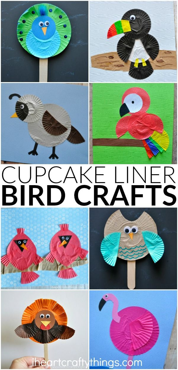 10 awesome cupcake liner bird crafts for kids. Fun cupcake liner crafts for kids, summer kids crafts, preschool bird craft and fun kids crafts.