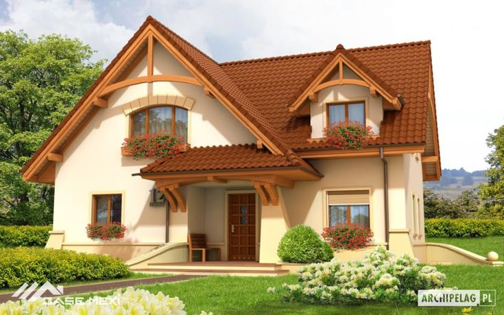 The one #storey #house with functional attic, without basement, designed for 4-5-person family #home