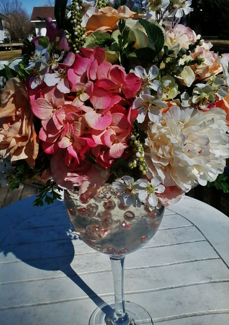 Wine glass centerpiece ideas found on uploaded by user for Wine centerpiece ideas