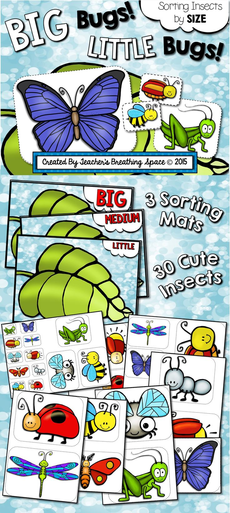 Big Bugs! Little Bugs! --- Sorting Insects By Size --- Spring Math Center! This set contains 3 sorting mats and 30 adorable insects to sort! Just $1.00!