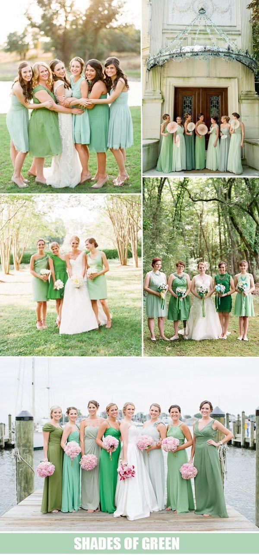 »Shades of green bridesmaid dresses for wedding theme ideas 2016« #wedding #weddinginspiration