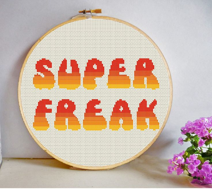 Super Freak Cross Stitch Pattern PDF Instant Download Lyrics Funny Rude Insult Gift room decor hoop art by HeritageStitch on Etsy