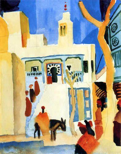 August Macke | View of a mosque, 1914 | Sidi bou Said, Tunisie