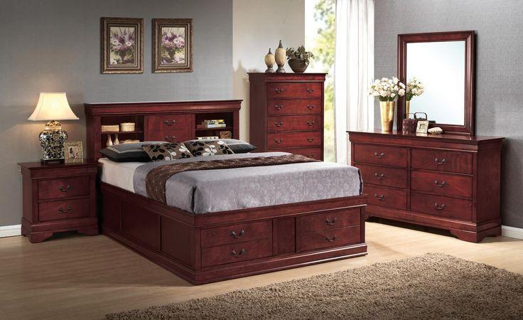 Louis Philippe Cherry Queen 5pc Storage Bedroom Set | Bedroom Group | Dallas TX Furniture
