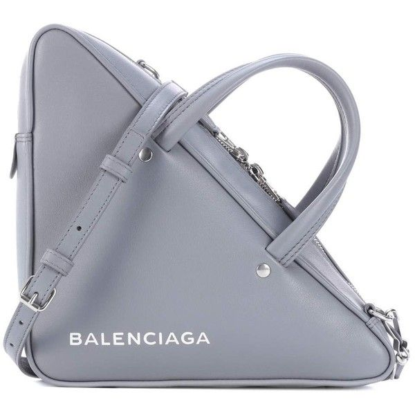 Balenciaga Triangle Duffle Leather Tote (415 KWD) ❤ liked on Polyvore featuring bags, handbags, tote bags, grey, handbags totes, gray leather handbags, leather tote, leather handbag tote and grey leather handbags