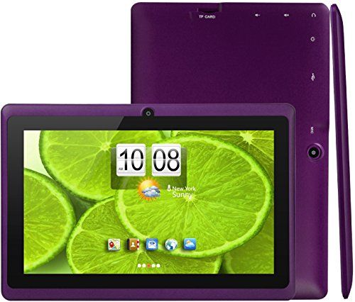"iROLA DX758 Tablet PC- 7"", Quad Core @ Up to 1.2 GHz, ARM Cortex A9, Android 4.4 KitKat, 512MB RAM DDR3, 8GB ROM Nand Flash, Plus TF Card Slot (32GB), 800x480 Pixels, 16:9, Dual Camera 2.0MP, 5 Point Capacitive Multi-touch Screen, Google Play Pre-installed, Accessory Kit (PURPLE)"
