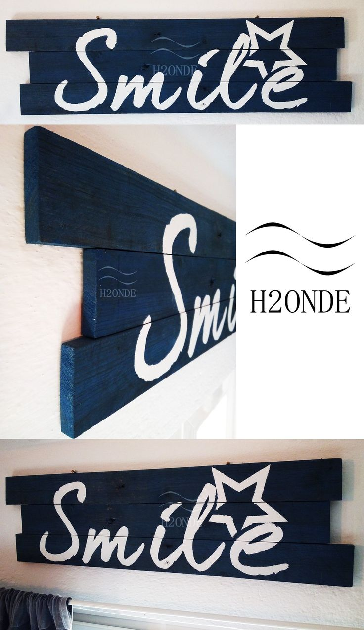 Smile wood sign decoration wall word art hanging decor home shabby beach rustic gift idea beach lovely living h2onde office kitchen custom funny Holz lächeln trä leende Sourire de bois house Wooden nautical nursery her him best farmhouse Scritta decorativa smile parete muro appendere decorazione shabby legno segnale arredo casa sala cucina mare simpatica rustico idea regalo sorridi camera bimbi bambini vendita sale pallet bianco blu happy felice quotes frase
