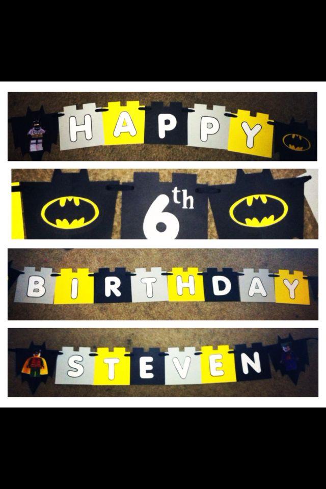Handmade Lego Batman Birthday banner. Created by me