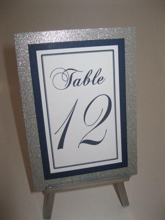 Silver Glitter & Navy Blue Wedding Table by WeddingSparkles