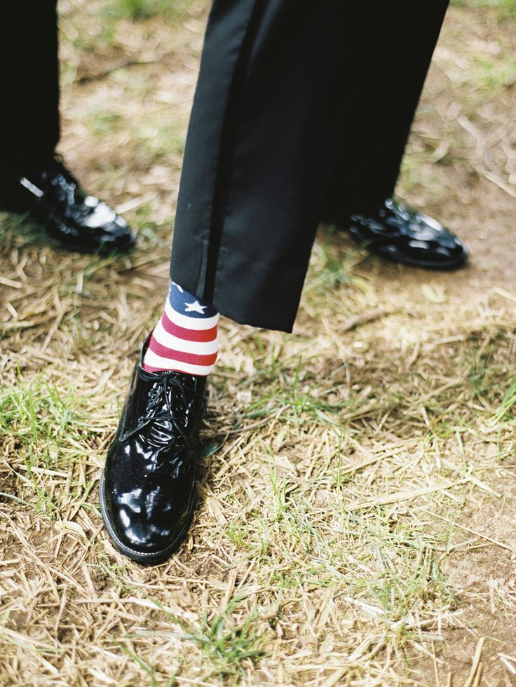 Patriotic socks: http://www.stylemepretty.com/2015/07/10/personalized-style-details-for-the-groom/