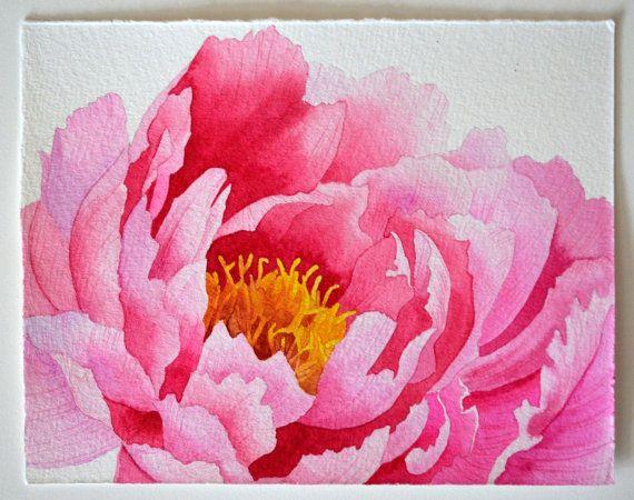 Pink peony original watercolor painting beautiful by Esperoart