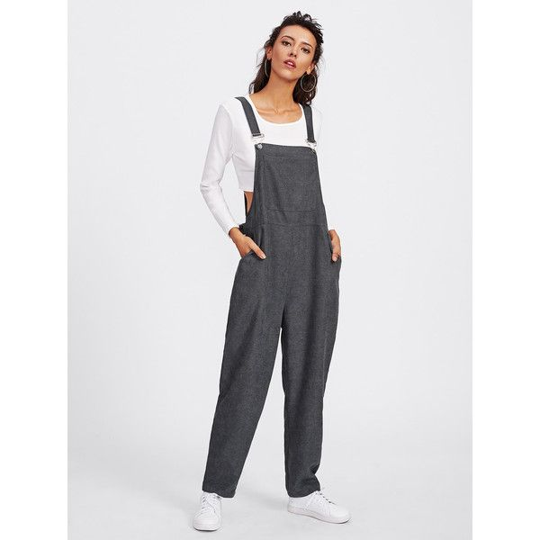 SheIn(sheinside) Bib Pocket Front Harem Overalls ($20) ❤ liked on Polyvore featuring jumpsuits, grey, jump suit, sleeve jumpsuit, gray overalls, jumpsuit overalls and bib overalls