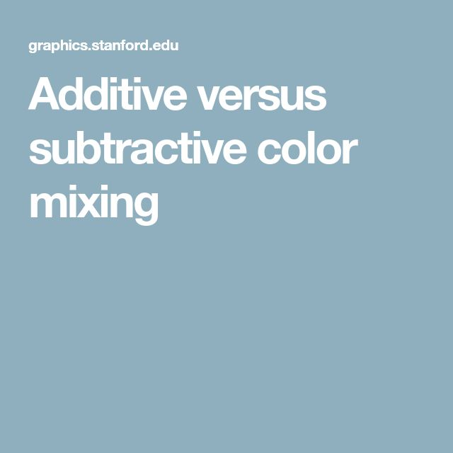 Additive versus subtractive color mixing