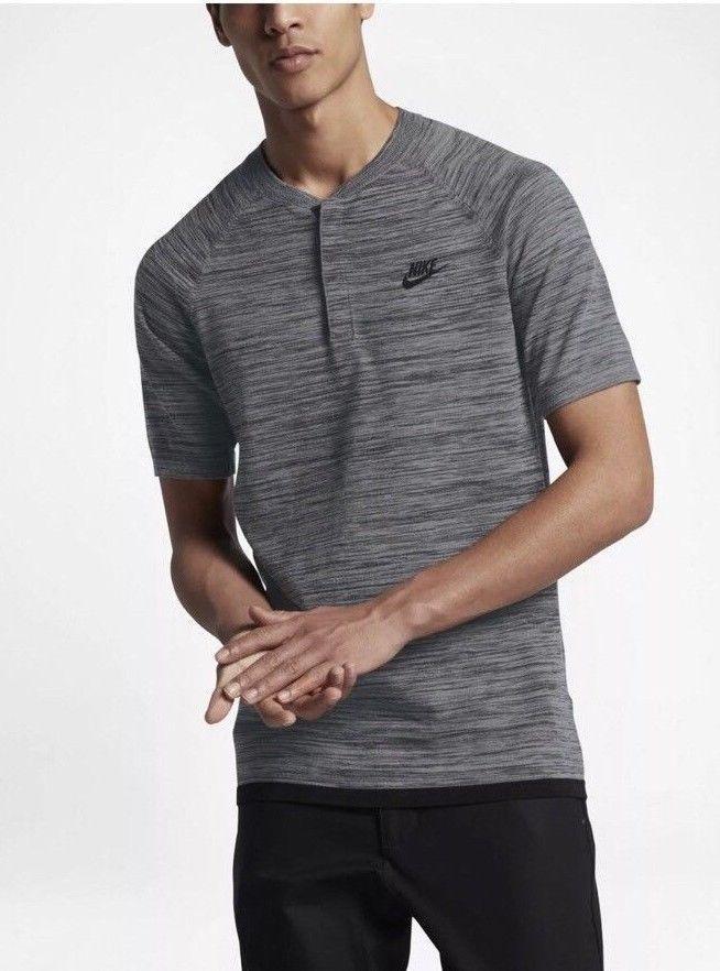 5babe8941 Nike Sportswear Tech Knit Men's Size Polo Gray Black Shirt Casual Top Gym  New #Nike #ShirtsTops