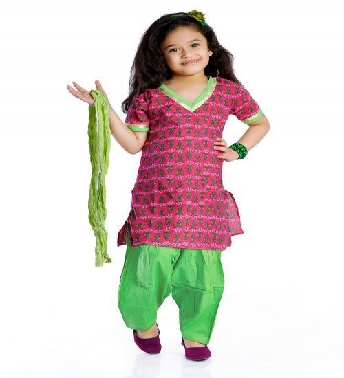 Kids Salwar Pink and neon green ..  Size : 1 - 10 Years  Price : 599 whatsapp : +91-9629187349  #salwar #kurta #pretty #cute #traditional #pattupavadai #lehenga #ghagra #girls