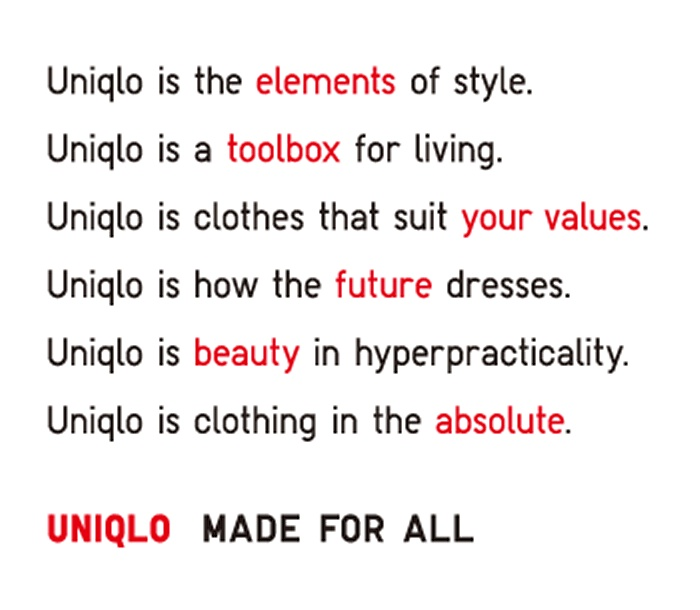 Uniqlo: Clothing that doesn't chase trend. Clothing for made and priced for everyone, designed to last.