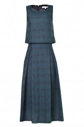 Rosa Brocade Two layer Dress in Teal