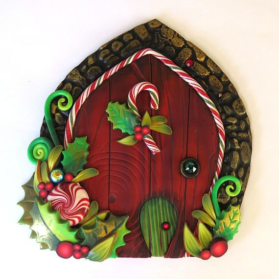 Red Elf Door with a Pet Door Miniature Fairy Door for the