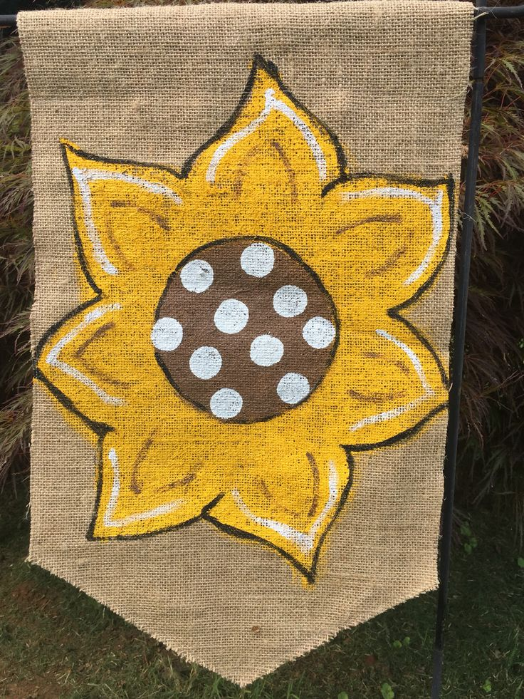 A personal favorite from my Etsy shop https://www.etsy.com/listing/527476936/sunflower-burlap-yard-flag-with-or