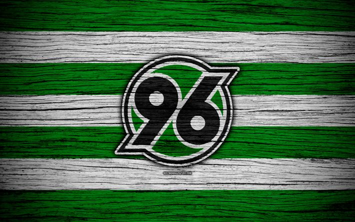 Download wallpapers Hannover 96, 4k, Bundesliga, logo, Germany, wooden texture, FC Hannover 96, soccer, football, Hannover 96 FC