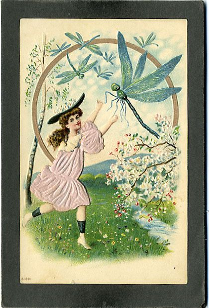Postcard Greetings, Probably Easter, Pretty Girl Chase Dragonfly, Silk Add-on #ProbablyEaster