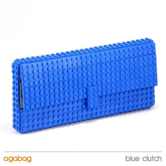 Blue clutch made of Lego