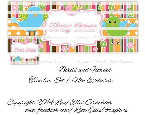 Birds and Flowers Facebook Timeline Banner & by LuziEllisGraphics