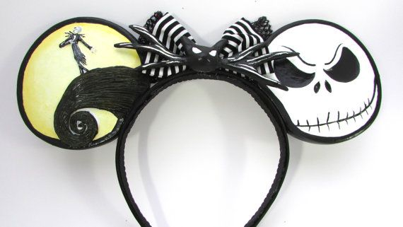 Mouse Inspired Nightmare Before Christmas Headband Each set of ears are cast out of a lightweight plastic and hand painted. They are very durable,