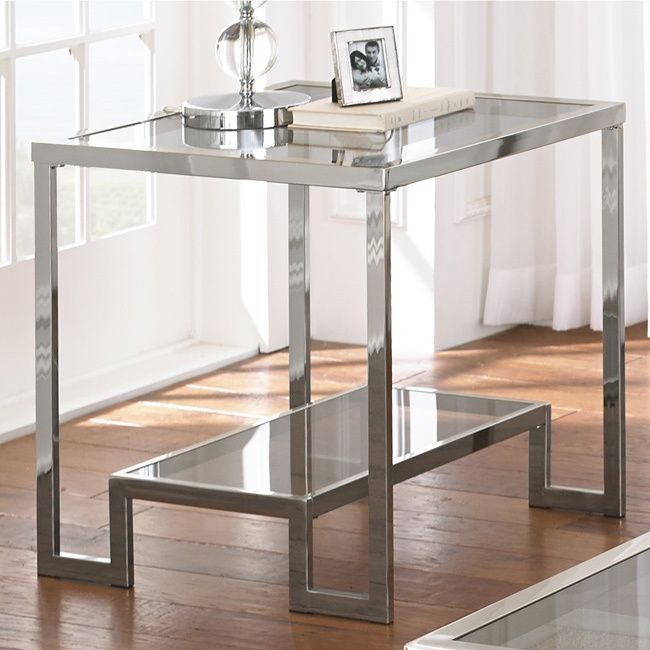 Greyson Living Cordele Chrome and Glass End Table (Cordele End Table), Silver