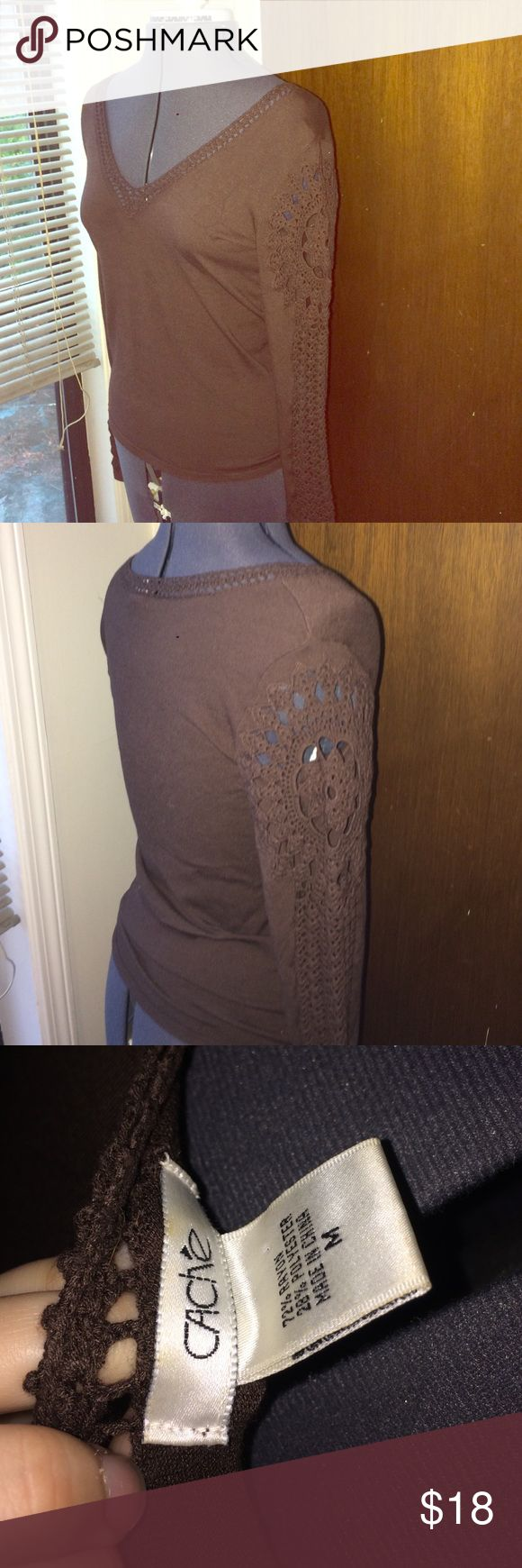 Cache crochet tee Really cool long sleeve tee with crochet details. No stains or holes. Cache Tops Tees - Long Sleeve