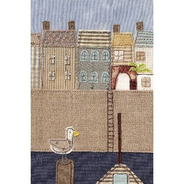 Textile illustration of Falmouth Harbour by Cat Rowe