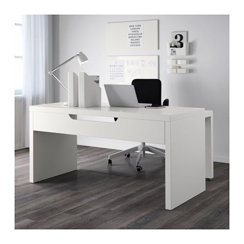 $149- simple desk, could be wrapped with reclaimed lumber or decoupaged with comics.   MALM Desk with pull-out panel - white - IKEA
